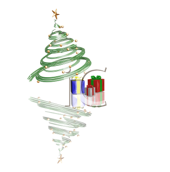 Royalty Free Clipart Image of a Christmas Tree With Gifts Under It