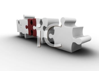 Royalty Free Clipart Image of a Puzzle With One Red Piece