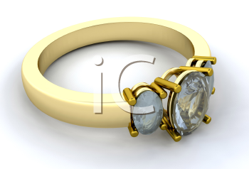 Royalty Free Clipart Image of a Gold Engagement Ring