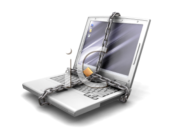 Royalty Free Clipart Image of a Computer With a Chain Around It