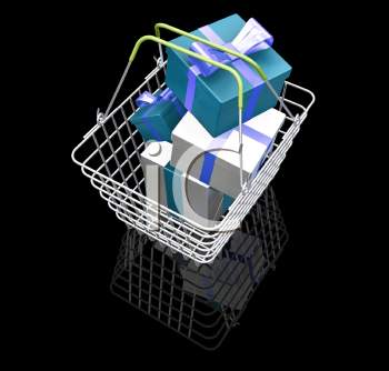 Royalty Free Clipart Image of a Shopping Basket Full of Presents