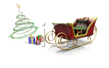 Royalty Free Clipart Image of Santa's Sleigh and Presents Under the Tree
