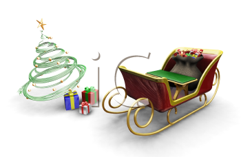 Royalty Free Clipart Image of Santa's Sleigh and Presents Under a Tree