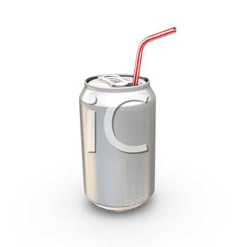 Royalty Free Clipart Image of a Soft Drink Can and a Straw