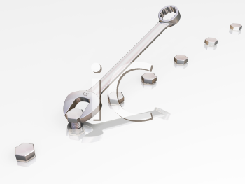 Royalty Free Clipart Image of a Spanner With Nuts and Bolts