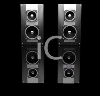 Royalty Free Clipart Image of a Pair of Black Speakers Reflected