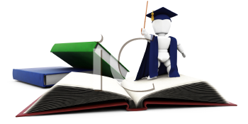 Royalty Free Clipart Image of a 3D Teacher With Books