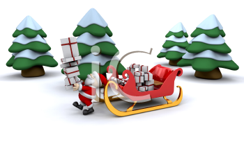 Royalty Free Clipart Image of Santa Delivering Presents