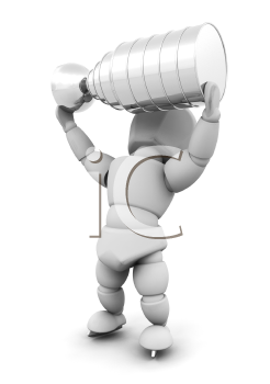 Royalty Free Clipart Image of a 3D Ice Hockey Player Lifting the Stanley Cup