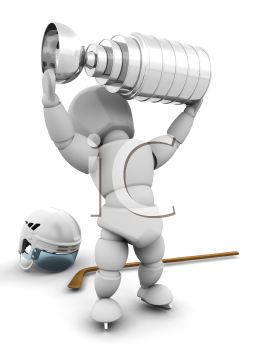 Royalty Free Clipart Image of a Hockey Player With the Stanley Cup