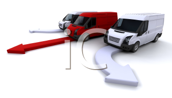 Royalty Free Clipart Image of a Delivery Van Fleet on Arrows