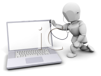 Royalty Free Clipart Image of a 3D Guy Checking a Computer