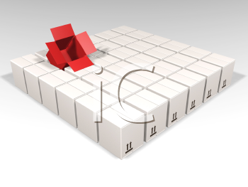 Royalty Free Clipart Image of an Open Red Box in a Group of Boxes