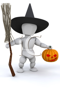 Royalty Free Clipart Image of a Witch With a Broom and Pumpkin Head