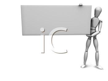 Royalty Free Clipart Image of a 3D Guy With a Blank Sign
