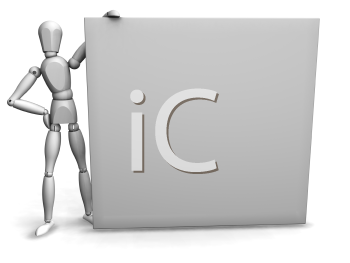 Royalty Free Clipart Image of a Person Holding a Blank Sign