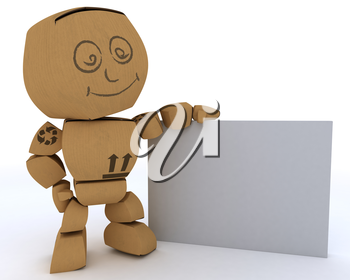 3D render of a Cardboard Box figure with blank white sign