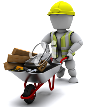 3D render of a Builder with a wheel barrow carrying tools