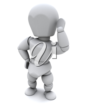 3D render of a White Character Listening