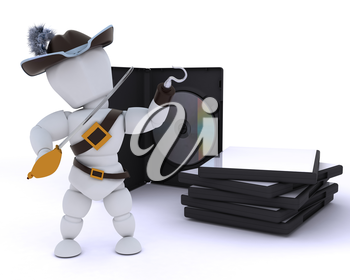 3D render of a Pirate with DVD software