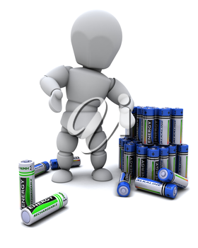 3D Render of a Man with Alkaline Batteries