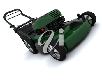 3D render of a man mowing the lawn