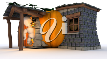 3D Render of Man in Halloween Pumpkin Cottage