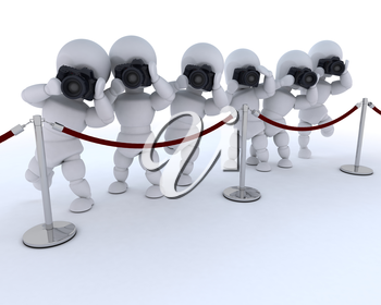 3D render of Paparazzi at the red carpet