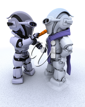 3D render of a robot building a snowman