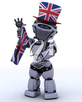 3D render of Robot in Union Jack Hat with Flag