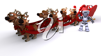 3D render of a Robot withsleigh and reindeer