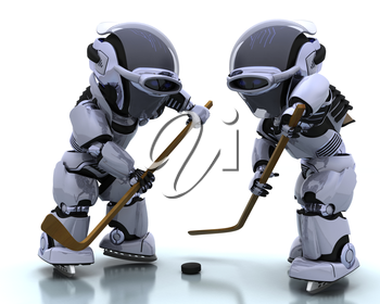 3D render of a Robots playing icehockey