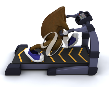 3D render of a turkey running on a treadmill