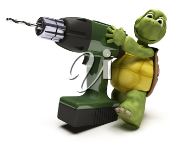 3D render of a Tortoise with a power drill