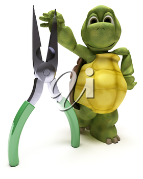 3D render of a Tortoise with a pair of pliers