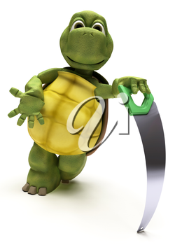 3D render of a Tortoise with a wood saw