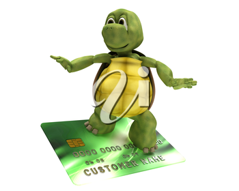3D render of a Tortoise with credit card