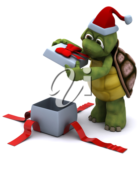 3D render of a tortoise santa character