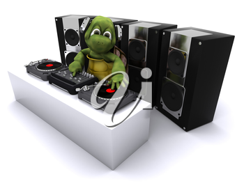 3D render of a tortoise DJ mixing records on turntables