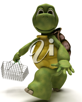 3D Render of a Tortoise with a shopping basket
