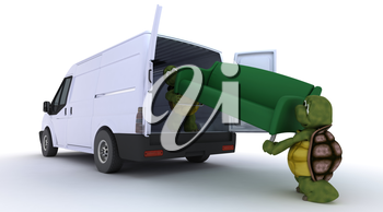 3D render of a tortoises loading a sofa into a van