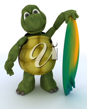 3D render of a tortoise with surf board