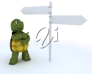 3D render of a tortoise with sign post