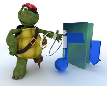 3D render of a Pirate Tortoise depicting illegal music downloads
