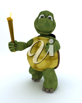 3D render of a tortoise running with othe olympic torch