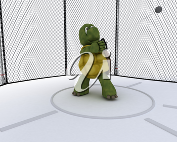 3D render of a tortoise competing in hammer tow