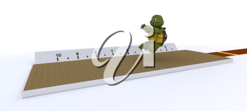 3D render of a tortoise competing in long jump
