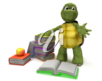 3D Render of a Tortoise reading a book