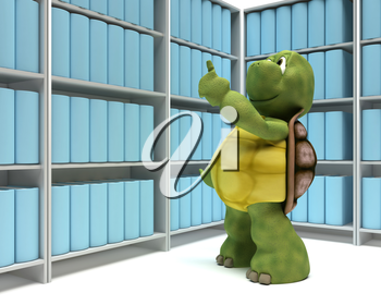 3D Render of a Tortoise with books in a library