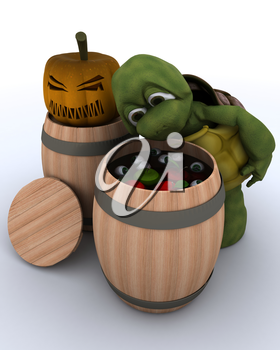 3D render of a tortoise bobbing for apples in a barrel